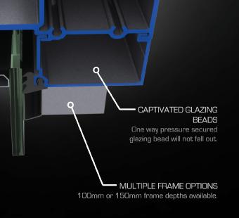 captivated glazing bead framing system