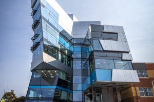 structurally glazed curtain wall at university