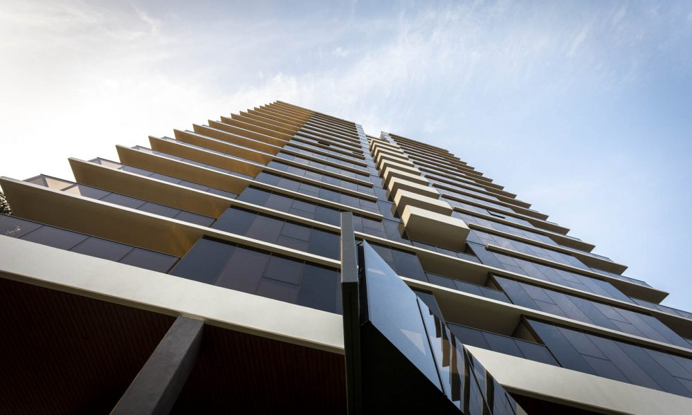 Looking up at the Marque Apartments in Maribyrnong