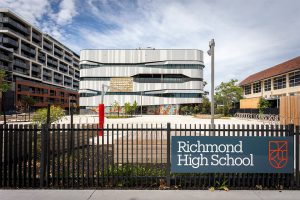 Richmond High School Front Gate. Vertical High schools of Melbourne