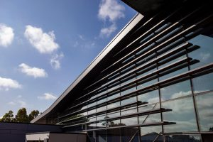Facade of new learning centre at Marcus Oldham College with louvres