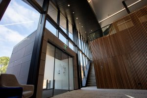 Inside of Marcus Oldham College new learning centre featuring EDGE Architectural Glazing Systems