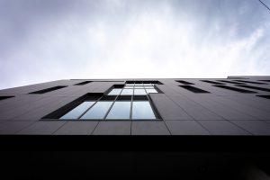 Looking up at Prahran High School's vertical school window systems