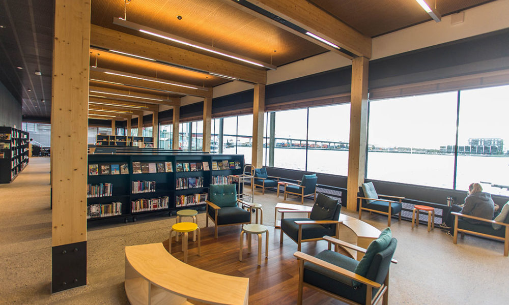 Inside windows at Docklands Library