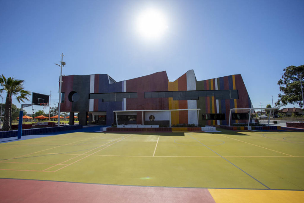 Basketball court and multicultural facade of the new Springvale Library