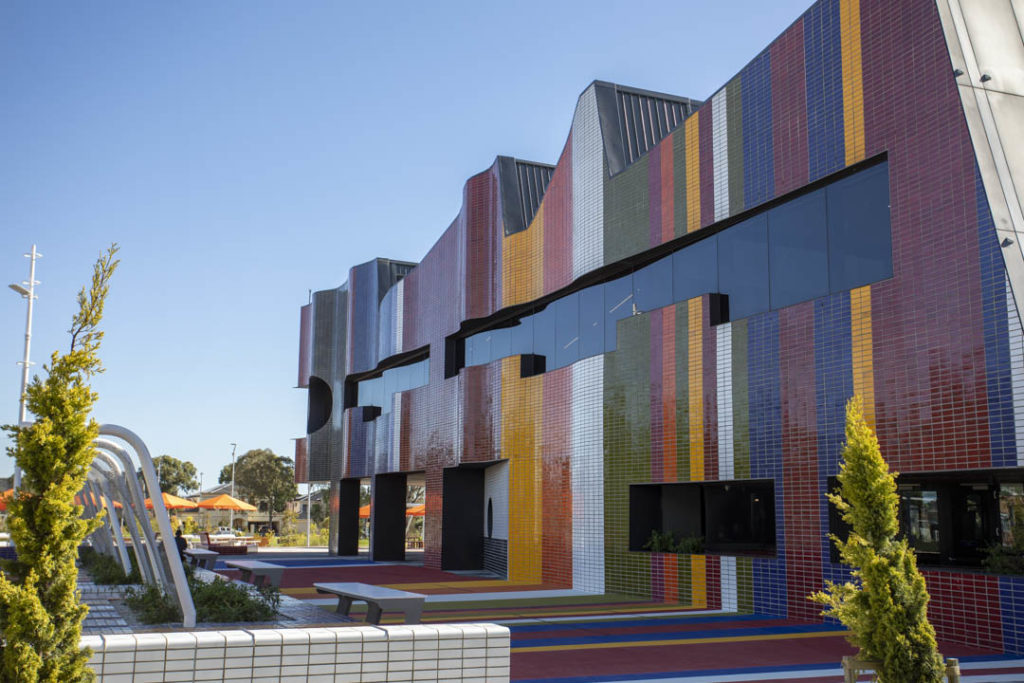 New Springvale Library - Colourful Side Facade