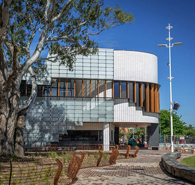 High-performing facade of the new Springvale Library & Community Hub